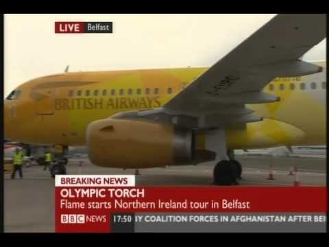 BBC News - 2012 Olympic Torch Relay Day 15 (2nd June 2012) Belfast Airport