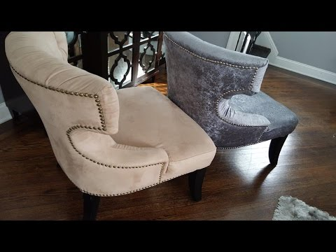 Tufted Chair Reupholstery DIY   Step 1 Removing the fabric