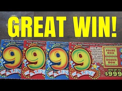 GREAT WIN ON $1 SCRATCH TICKET!!! 9 In A Line $1 California Lottery Scratchers