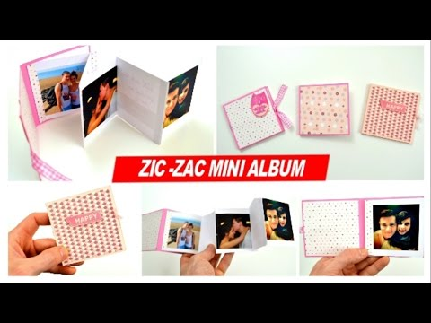 DIY Crafts / Zig-zag Folded mini album - How to make Accordion photo album - Cardmaking&Scrapbooking