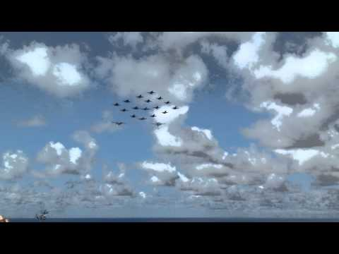18 fighter jets fly in formation over the USS John