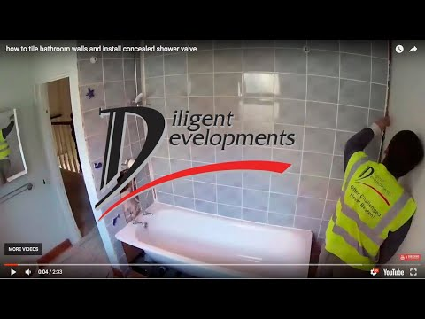 how to tile bathroom walls and install concealed shower valve