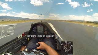 Scary Takeoff - Tow Plane Too Slow for Glider