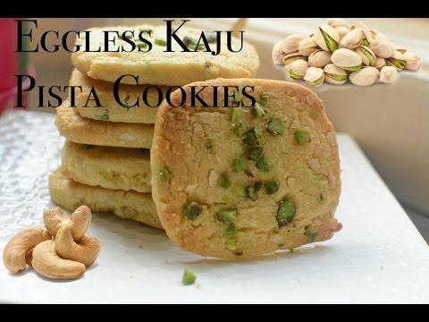 Eggless Kaju Pista Cookies | Cashew Pistachio Cookies/Biscuits recipe