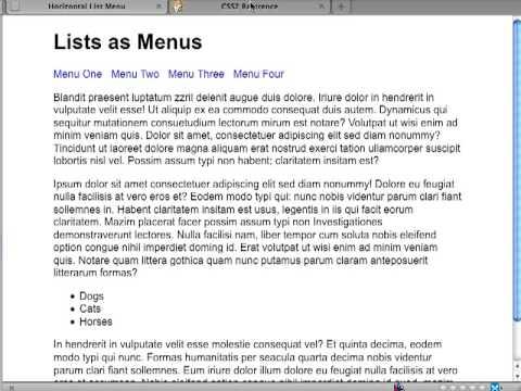 HTML & CSS Menus using Lists (horizontal)