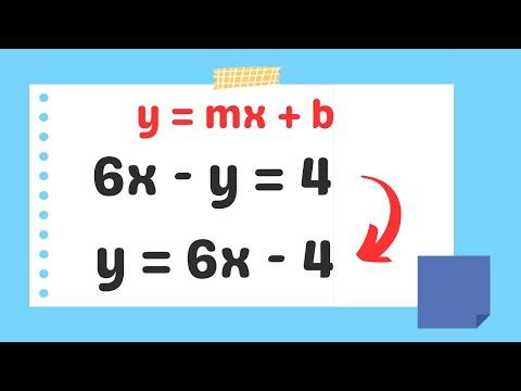 Change an equation into Slope Intercept Form (y=mx+b)