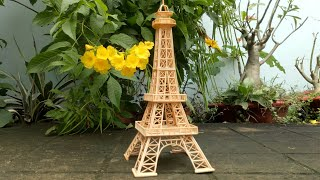DIY! Useful Diy Ideas - Making Eiffel Tower with bamboo toothpick (Method 2) | T-IDEAS
