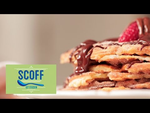 Churro Waffles With Chocolate Sauce Recipe