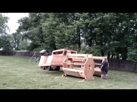 Monster truck playhouse build. Part 1 of setting top on.