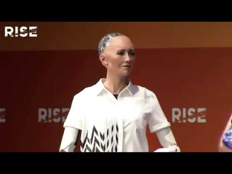 Two robots debate the future of humanity