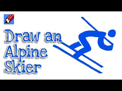 How to Draw an Alpine Skiing Pictogram Peongchang Olympics Real Easy