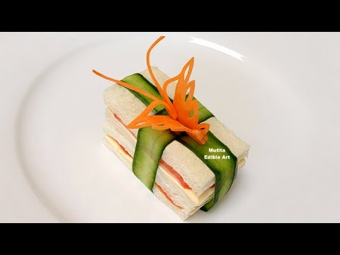 How To Make A Butterfly From Carrot Garnish On Sandwich - Beginners Lesson 72 By Mutita EdibleArt