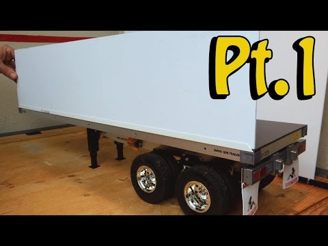 Tamiya truck flat bed trailer: How to selfmade a container for #56306 - King hauler, Globe liner