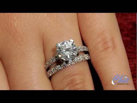 Cubic zirconia engagement ring with a matching band in 14k w gold- item # MA7944-7943