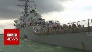 US Navy ship: sleeping area and communication equipment damaged - BBC News