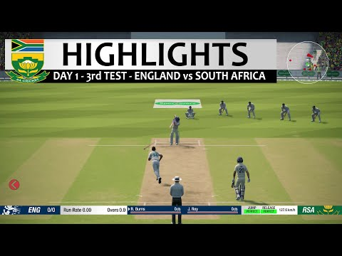 Day 1 - 3rd Test South Africa vs England Highlights Prediction Cricket 19 Hard mode 2020