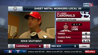 Matheny on umpiring in ninth: 'A lot of frustration at the end'