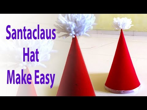 DIY Christmas, How to make Santa Hat for Christmas, Merry Christmas And Happy New Year