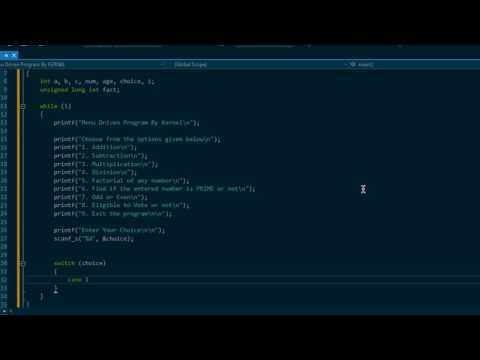 C Programming [ Menu Driven Program ]