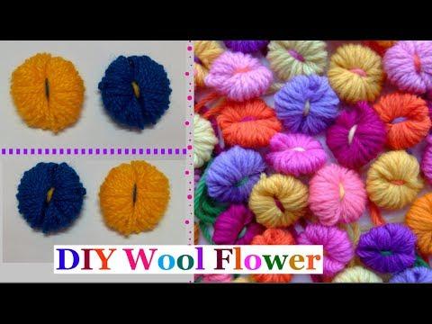 How to make Easy Wool Flowers step by step|Handmade wool/yarn flower making idea-diy wool craft idea