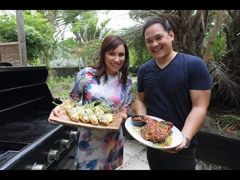 Hawaiian BBQ Chicken and Mexican Street Corn by Anthony Hoy Fong