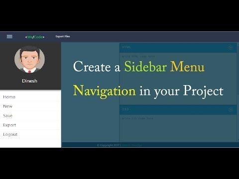 wecode | sidebar menu  in html and css | slide menu | Sidebar navigation | part 6