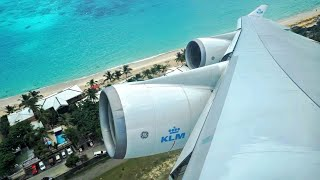 FAST Takeoff & IMMEDIATE Right Turn - KLM Boeing 747-400 [PH-BFL] Takeoff from St. Maarten