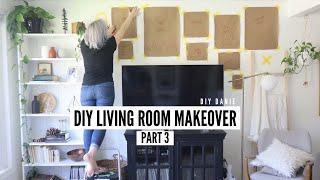 DIY Living Room Refresh! (PART 3) | DIY Gallery Wall, Custom Art, Sofa Arm Table + Painted Chairs!