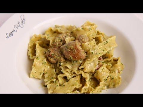 Pasta with Sausage & Creamy Pesto Recipe - Laura Vitale - Laura in the Kitchen Episode 391
