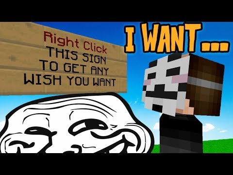 GRANTING PLAYERS WISHES.... WITH A TWIST TROLL (Minecraft Trolling)