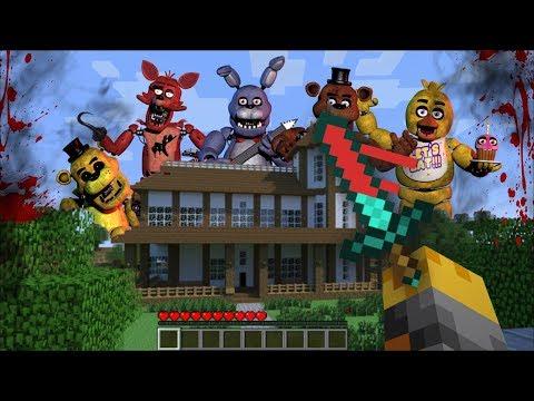 Minecraft FIVE NIGHTS AT FREDDY'S MOD / FNAF ATTACKS CITY AND KILLS EVERYONE!! Minecraft