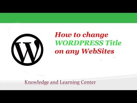 Change WordPress Title