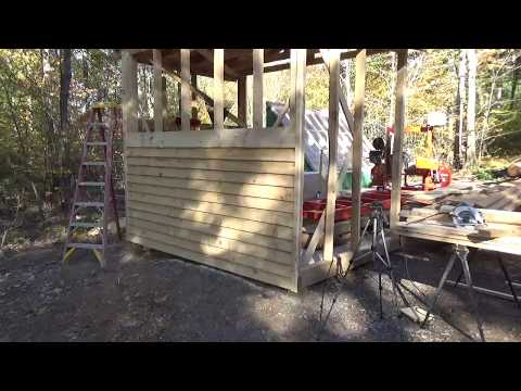 Hanging white pine lap siding that was cut with the Woodmizer LT15