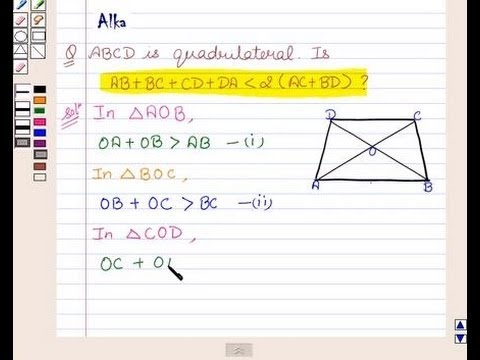 Example: Sum of Four Sides of a Quadrilateral is Less than Twice the Sum of its Diagonals?