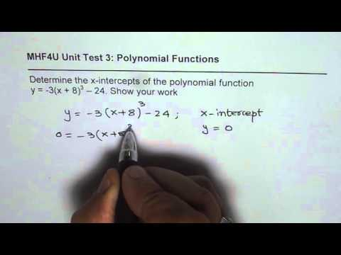 Find X Intercepts of a Cubic Polynomial Function
