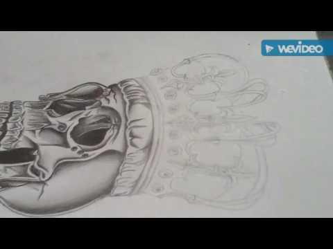 King Skeleton Tattoo Drawing- Time Lapse