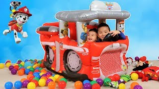 Paw Patrol Fire Truck Playland Kids Inflatable Fun With 350 Colour Balls Ckn Toys
