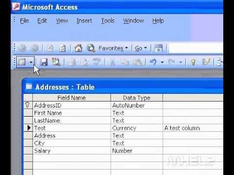 Microsoft Office Access 2003 Add a field to a table