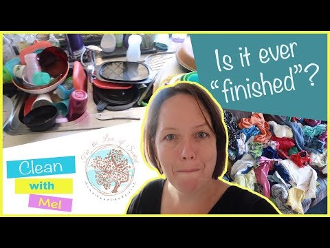 Catching up on laundry and dishes! Real Life: Messy House : Clean With Me 2018