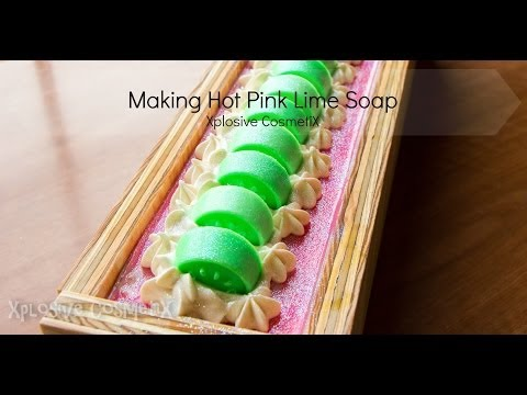 Making Hot Pink Lime Soap