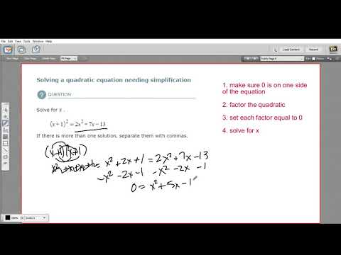 Solving a quadratic equation needing simplification