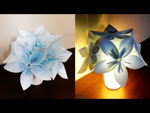 Kusudama night light DIY - learn how to make a flower lamp with LED lights- EzyCraft