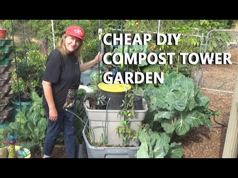 Compost Garden Tower- Dump, Plant, NO TURN, Grow FOOD in Small Space No Bending