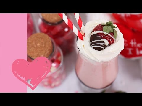 Chocolate Covered Strawberry Milkshake | Valentine's Day Edible Gifts