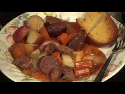 Let's Cook- Delicious Beef Stew End Product Along with Garlic Bread
