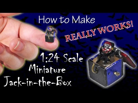 Miniature Jack-in-the-Box Halloween Tutorial (actually works!) | Dolls | How to Make 1:24 Scale DIY