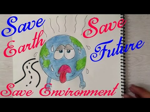 How To Draw Save Earth || Save Environment || Save Future || coloring poster for kids ||
