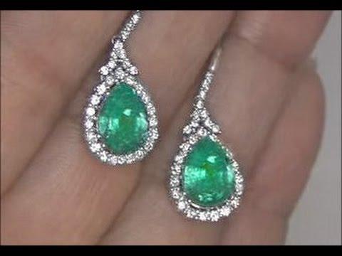 Kim Kardashian Lost Colombian Emerald & Diamond Earrings Set In Solid 14K White Gold Must Be Sold