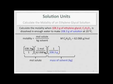 Solution Units: Calculate the Molality of an Ethylene Glycol Solution