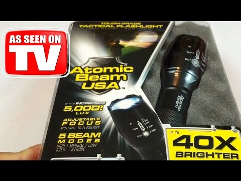 Atomic Beam USA 5000 lux zoomable tactical LED flashlight review - AS SEEN ON TV